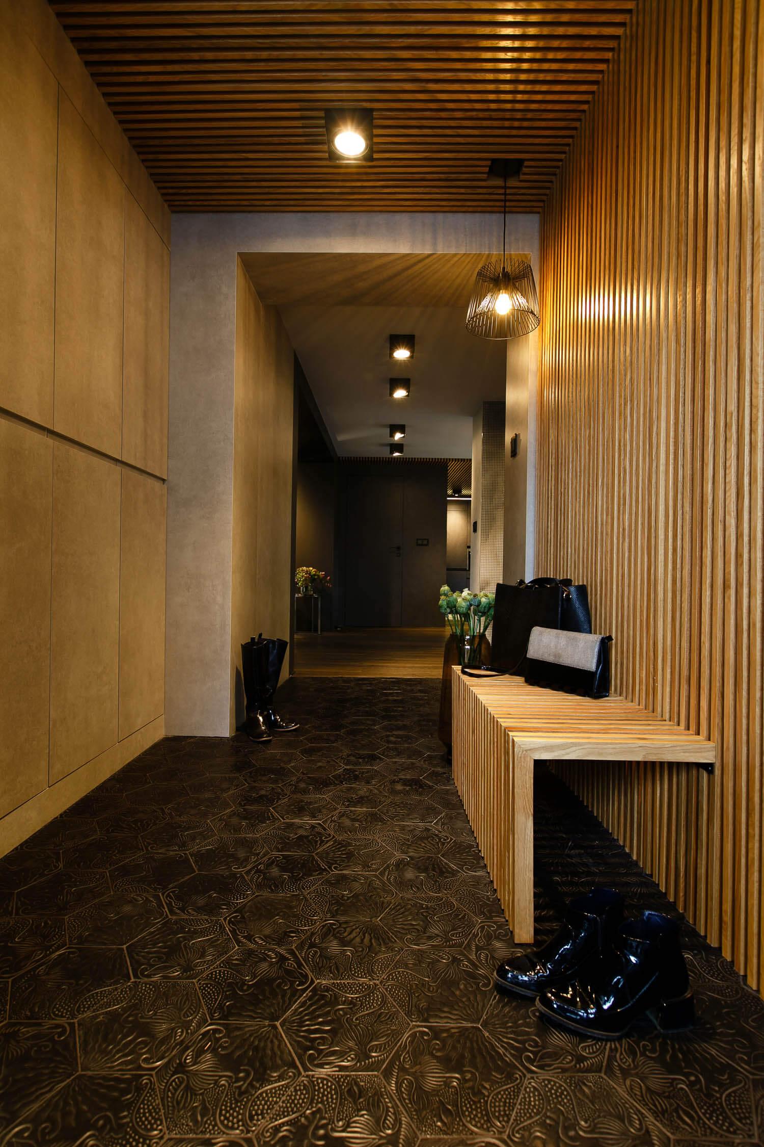 Zdjęcie blatu w designerskim mieszkaniu w Krakowie. Projekt DelaBartman